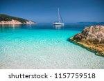 beautiful azure blue lagoon... | Shutterstock . vector #1157759518