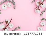 cotton flowers with eucaliptus | Shutterstock . vector #1157771755