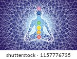 silhouette of a yogi in a lotus ... | Shutterstock . vector #1157776735