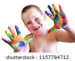funny little boy with hands... | Shutterstock . vector #1157784712