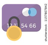 a credit card with the padlock ... | Shutterstock .eps vector #1157807842