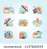 holidays vacations set icons... | Shutterstock .eps vector #1157830555