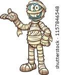 happy cartoon mummy. vector... | Shutterstock .eps vector #1157846548