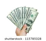 male hands with dollars... | Shutterstock . vector #115785328