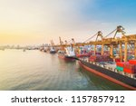 crane container shipping of... | Shutterstock . vector #1157857912