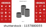 stack of coins icon   Shutterstock .eps vector #1157880055