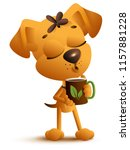 yellow funny dog holds mug and... | Shutterstock .eps vector #1157881228
