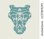 ornamental tattoo wolf head.... | Shutterstock . vector #1157895295