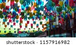 colorful paper flags and... | Shutterstock . vector #1157916982