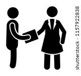 a lady employer is assigning... | Shutterstock .eps vector #1157922838