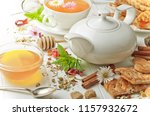 tea in a cup on a white... | Shutterstock . vector #1157932672
