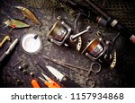 fishing rods and spinnings in... | Shutterstock . vector #1157934868