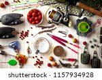 fishing rods and spinnings in... | Shutterstock . vector #1157934928
