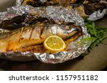 baked mackerel with salt  lemon ... | Shutterstock . vector #1157951182