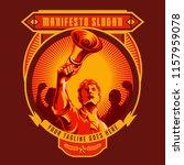 revolution badge of men holding ... | Shutterstock .eps vector #1157959078