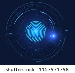 fingerprint unlocking and... | Shutterstock .eps vector #1157971798