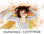 beautiful dancer jumping over... | Shutterstock . vector #1157979028