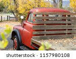 Red Vintage Farm Truck With...