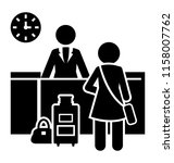 icon of female guest standing... | Shutterstock .eps vector #1158007762