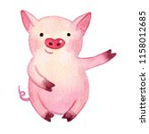 Watercolor Pig. 2019 Chinese...