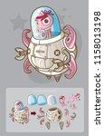 pink alien with ufo robot.... | Shutterstock .eps vector #1158013198