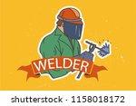 welder  man in mask and uniform. | Shutterstock .eps vector #1158018172