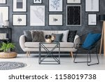 plant on pouf next to sofa in... | Shutterstock . vector #1158019738