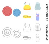 pincushion with pins  thimble ... | Shutterstock .eps vector #1158038335