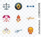 Set Of 9 transparent icons such as skull, dream, durga, cricket, siddhivinayak, makeup, gymshark, renault, naacp, can be used for mobile, pixel perfect vector icon pack, transparency set