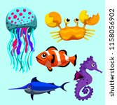 set sea animals of simple color ... | Shutterstock .eps vector #1158056902