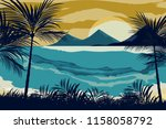 beautiful view of the beach on... | Shutterstock .eps vector #1158058792