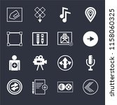set of 16 icons such as go back ...