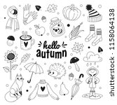 hello autumn doodle collection. ... | Shutterstock .eps vector #1158064138