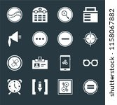 set of 16 icons such as equal ...