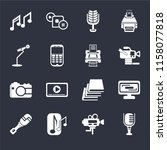set of 16 icons such as mic ...