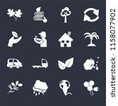 set of 16 icons such as bio...