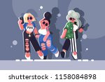fashionable girls hipsters.... | Shutterstock .eps vector #1158084898