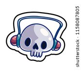 fashion patch skull badge.... | Shutterstock .eps vector #1158087805