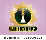 gold emblem with chess king... | Shutterstock .eps vector #1158098185