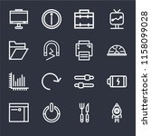 set of 16 icons such as rocket...