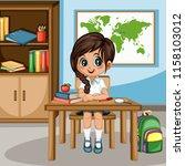 cute cartoon girl sitting at... | Shutterstock .eps vector #1158103012