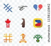 Set Of 9 transparent icons such as jamaican, 10 years warranty, tic tac toe, philippine flag, otter, made in canada, gynecologist, black mamba, triple x, can be used for mobile, pixel perfect vector