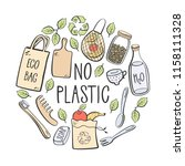 no plastic. eco lifestyle.... | Shutterstock .eps vector #1158111328