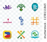 Set Of 9 transparent icons such as acupressure, fantasy baseball, philippine flag, tic tac toe, bs, candyland, jamaican, gym with purple, can be used for mobile, pixel perfect vector icon pack,