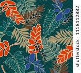 retro summer tropical leaves... | Shutterstock .eps vector #1158112882