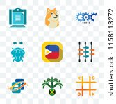 Set Of 9 transparent icons such as tic tac toe, jamaican, bookkeeping, kicker, philippine flag, bearded fisherman, carparts, doge, aturan, can be used for mobile, pixel perfect vector icon pack,