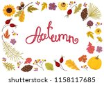 autumn frame with flowers ... | Shutterstock .eps vector #1158117685