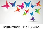 colorful butterflies origami... | Shutterstock .eps vector #1158122365