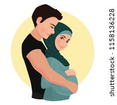 the man is hugging pregnant... | Shutterstock .eps vector #1158136228