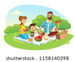 happy family on a picnic. dad ... | Shutterstock .eps vector #1158140398